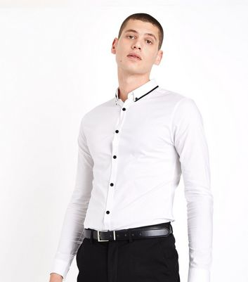 White Double Collar Trim Muscle Fit Shirt