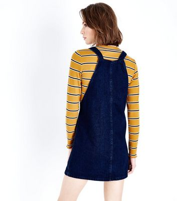 Blue Dark Wash Denim Pinafore Dress New Look