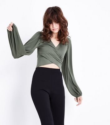 Khaki Balloon Sleeve Wrap Front Crop Top New Look