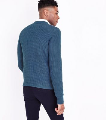 Blue Waffle Knit Crew Neck Jumper New Look