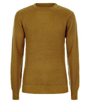 Yellow Waffle Knit Crew Neck Jumper New Look