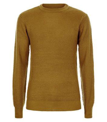 Mustard Waffle Knit Jumper New Look
