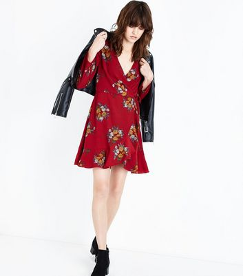 Red Floral Print Wrap Front Dress New Look