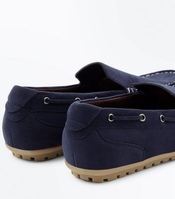 Navy Suedette Loafers New Look