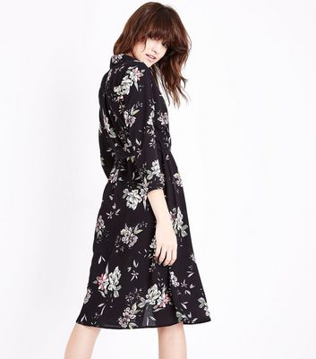 Black Floral Wrap Front Midi Dress New Look