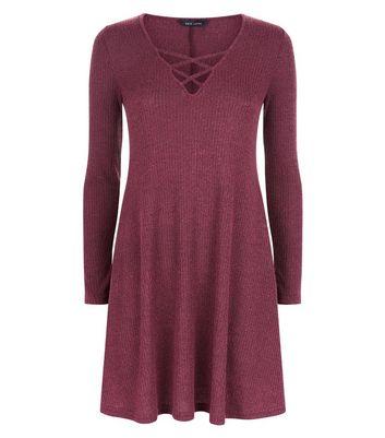 Burgundy Marl Ribbed Lattice Front Swing Dress New Look