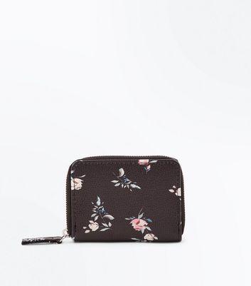 Black Floral Print Zip Around Cardholder New Look
