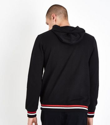 Black Stripe Hem Hooded Sweatshirt New Look