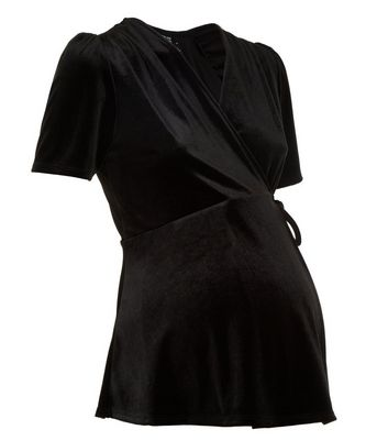 Maternity Black Velvet Wrap Front Top New Look