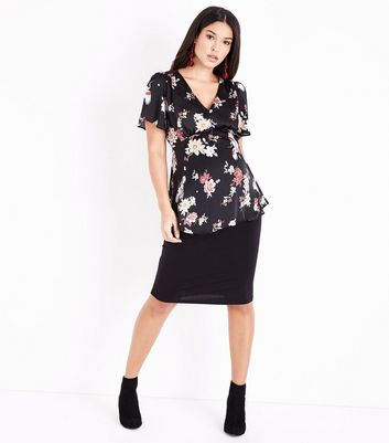 Maternity Black Satin Bird and Floral Print Blouse New Look