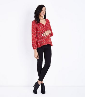 Maternity Red Floral Frill Trim Blouse New Look