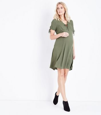 Maternity Khaki Scallop V Neck Tea Dress New Look