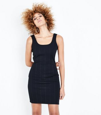 Black Ribbed Bodycon Dress New Look