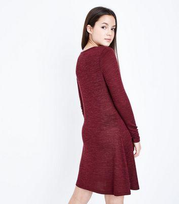 Teens Burgundy Lattice Front Long Sleeve Dress New Look