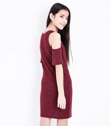 Teens Burgundy Frill Sleeve Cold Shoulder Bodycon Dress New Look