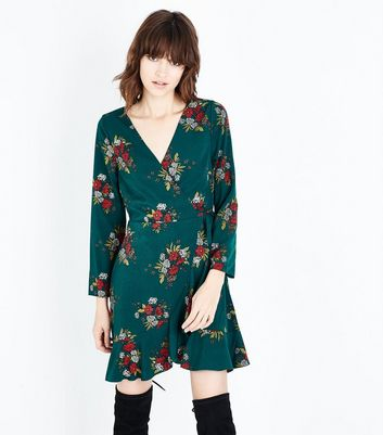 Green Floral Print Wrap Front Dress New Look
