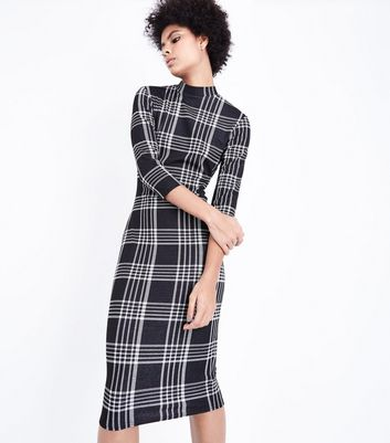 Black Check Bodycon Midi Dress New Look