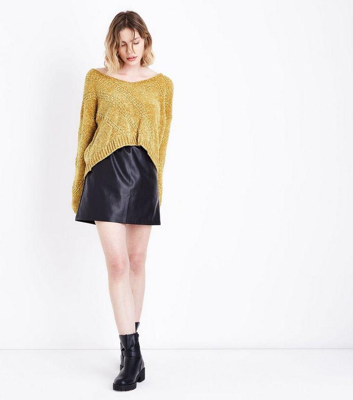 Cameo Rose – Senfgelber Chenille-Pullover mit Zickzack-Stich | New Look