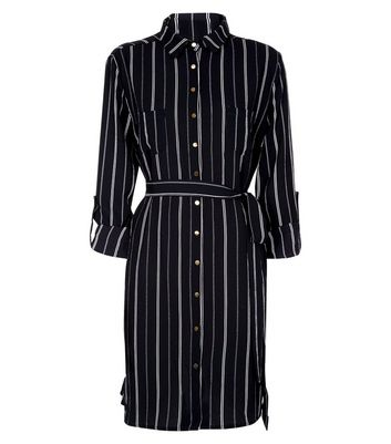 Cameo Rose Black Stripe Shirt Dress New Look