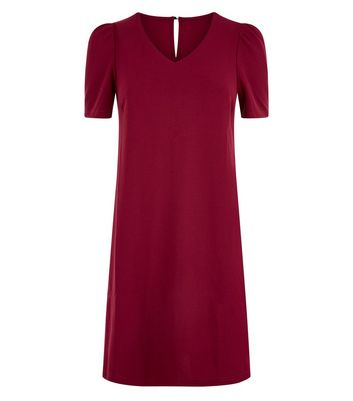 Cameo Rose Burgundy Puff Sleeve Dress New Look