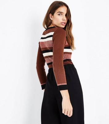 Cameo Rose Red Glitter Stripe Jumper New Look