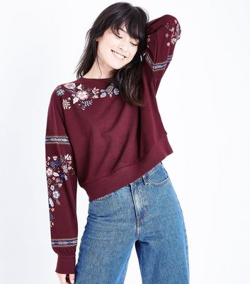 Burgundy Floral Embroidered Sweatshirt New Look