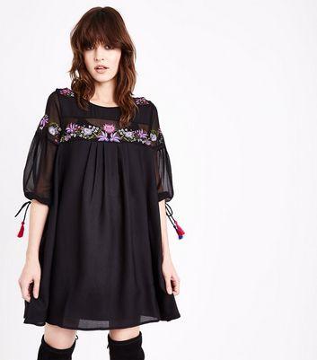 Black Floral Embroidered Tassel Sleeve Smock Dress New Look