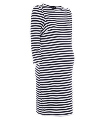 Maternity Blue Stripe 3/4 Sleeve Tunic Dress New Look