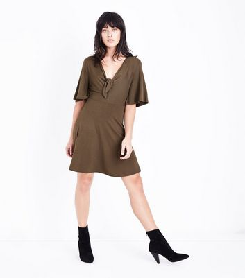 Khaki Tie Front Jersey Skater Dress New Look