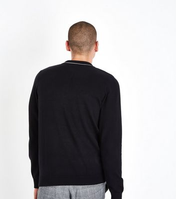 Black Contrast Collar Polo Shirt New Look
