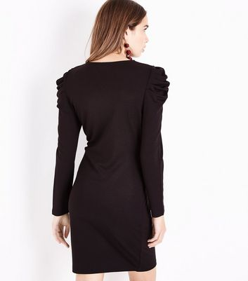 Black Ruched Shoulder Tunic Dress New Look