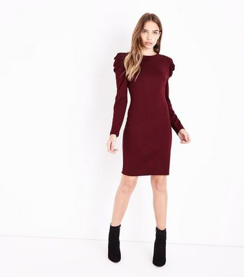 Burgundy Ruched Shoulder Tunic Dress New Look