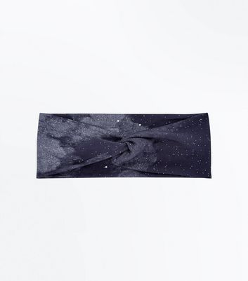 Black Ombre Glitter Galaxy Hair Band New Look