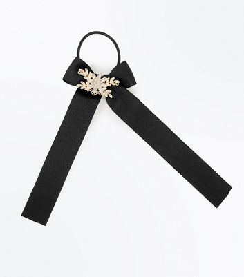 Black Stone Embellished Bow Ponio Hair Band New Look