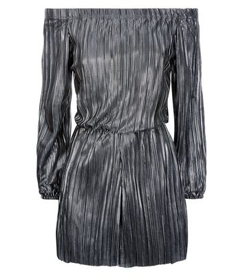 Silver Plisse Bardot Neck Playsuit New Look