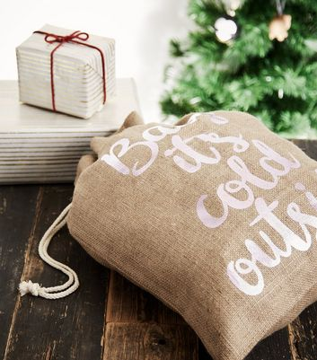 Tan Baby It's Cold Outside Christmas Present Sack New Look