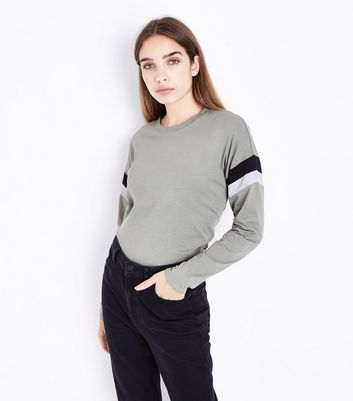 Olive Green Stripe Sleeve T-Shirt New Look