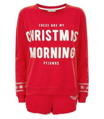Red Christmas Morning Slogan Pyjama Set New Look