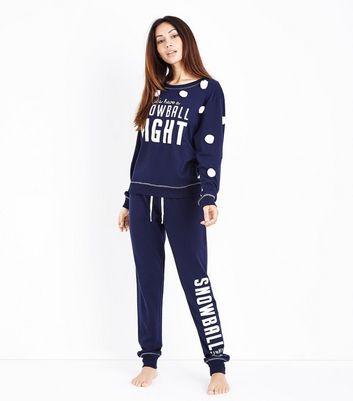 Dark Blue Snowball Fight Slogan Sweatshirt New Look