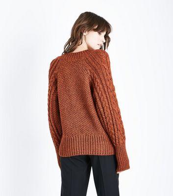 Rust Italian Yarn Cable Knit Raglan Jumper New Look