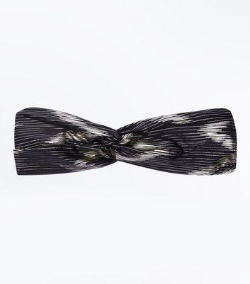 Black Stripe Twist Front Headband New Look