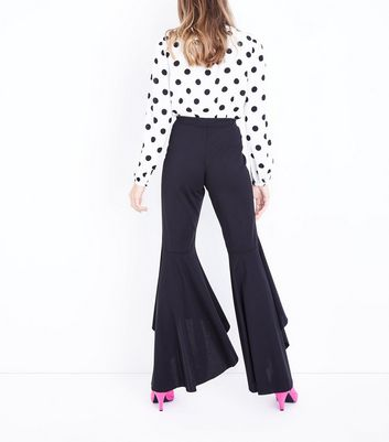 Black Frill Hem High Waisted Trousers New Look