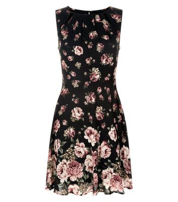 Apricot Black Rose Print Dress New Look