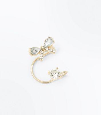 Gold Diamante Bow Ear Cuff New Look