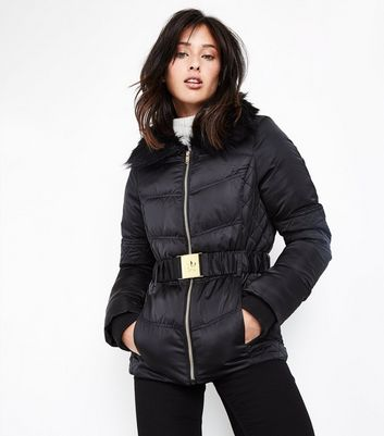 Black Faux Fur Collar Belted Quilted Puffer Jacket New Look