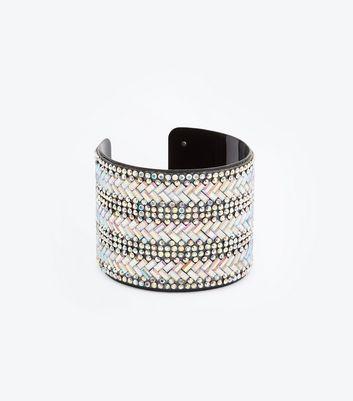 Black Stone Embellished Cuff Bracelet New Look