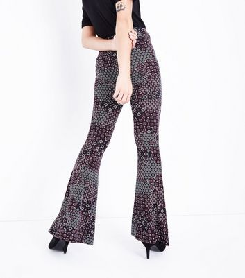 Burgundy Paisley Print Jersey Flares New Look