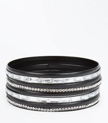 Black Gem Embellished Bangle Pack New Look