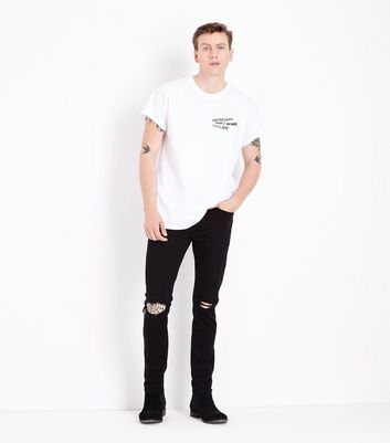 White Embroidered Slogan T-Shirt New Look