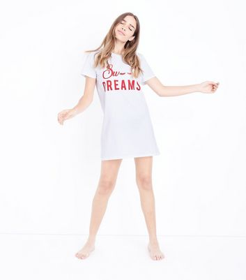 White Sweet Dreams Slogan Night Shirt New Look